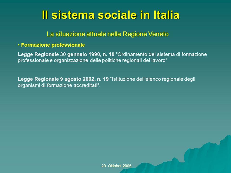 29. Oktober 2005 La situazione attuale nella Regione Veneto Il sistema sociale in Italia Formazione professionale Legge Regionale 30 gennaio 1990, n.
