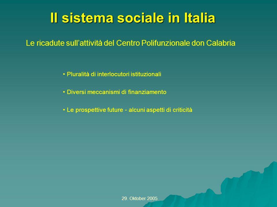 29. Oktober 2005 Le ricadute sullattività del Centro Polifunzionale don Calabria Il sistema sociale in Italia Pluralità di interlocutori istituzionali