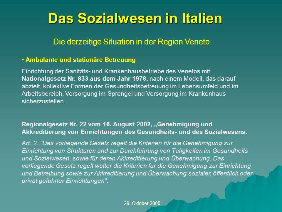 29. Oktober 2005 Die derzeitige Situation in der Region Veneto Das Sozialwesen in Italien Ambulante und stationäre Betreuung Einrichtung der Sanitäts-
