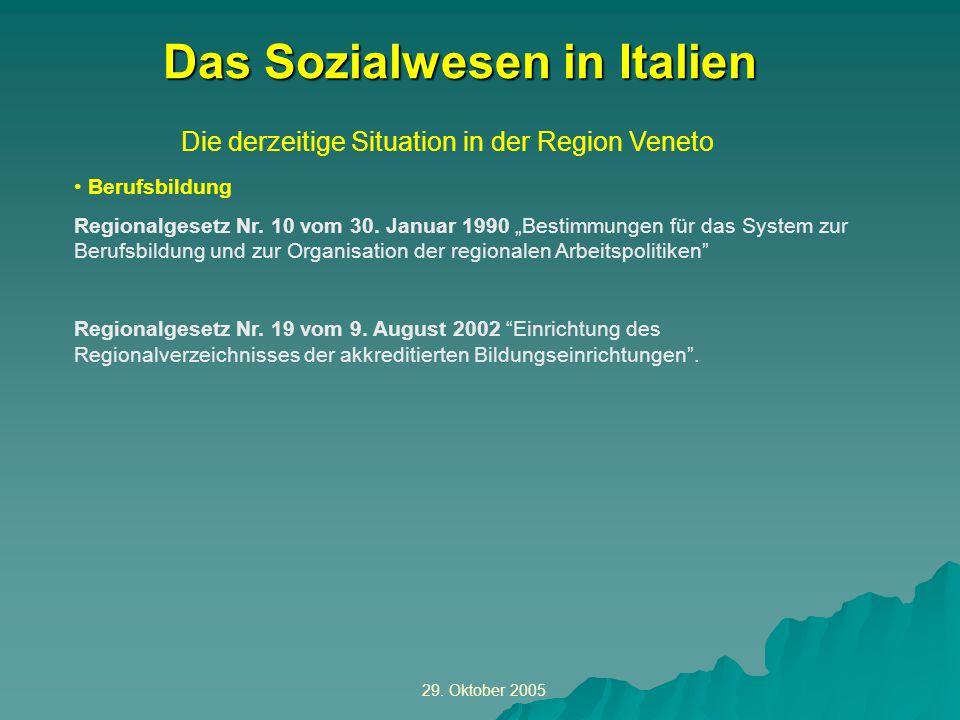 29. Oktober 2005 Die derzeitige Situation in der Region Veneto Das Sozialwesen in Italien Berufsbildung Regionalgesetz Nr. 10 vom 30. Januar 1990 Best