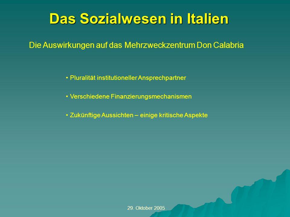29. Oktober 2005 Die Auswirkungen auf das Mehrzweckzentrum Don Calabria Das Sozialwesen in Italien Pluralität institutioneller Ansprechpartner Verschi