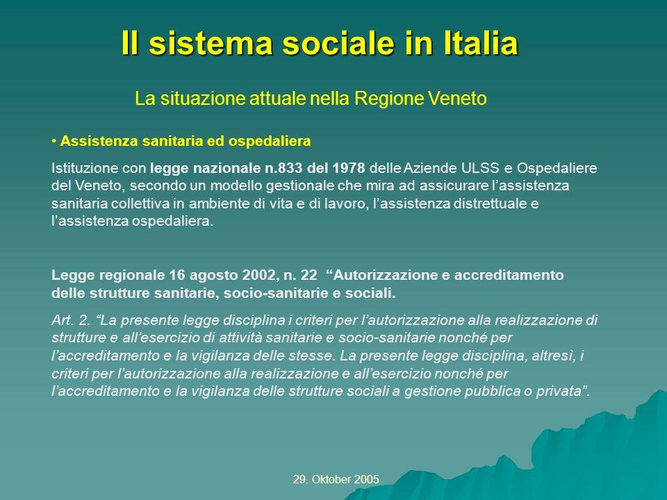 29. Oktober 2005 La situazione attuale nella Regione Veneto Il sistema sociale in Italia Assistenza sanitaria ed ospedaliera Istituzione con legge naz