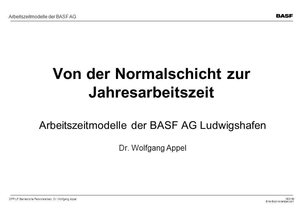 DPP/LP Betriebliche Personalarbeit, Dr. Wolfgang Appel 09/21/99 Ernst-Bloch-Arbeitszeit.ppt/1 Arbeitszeitmodelle der BASF AG Von der Normalschicht zur
