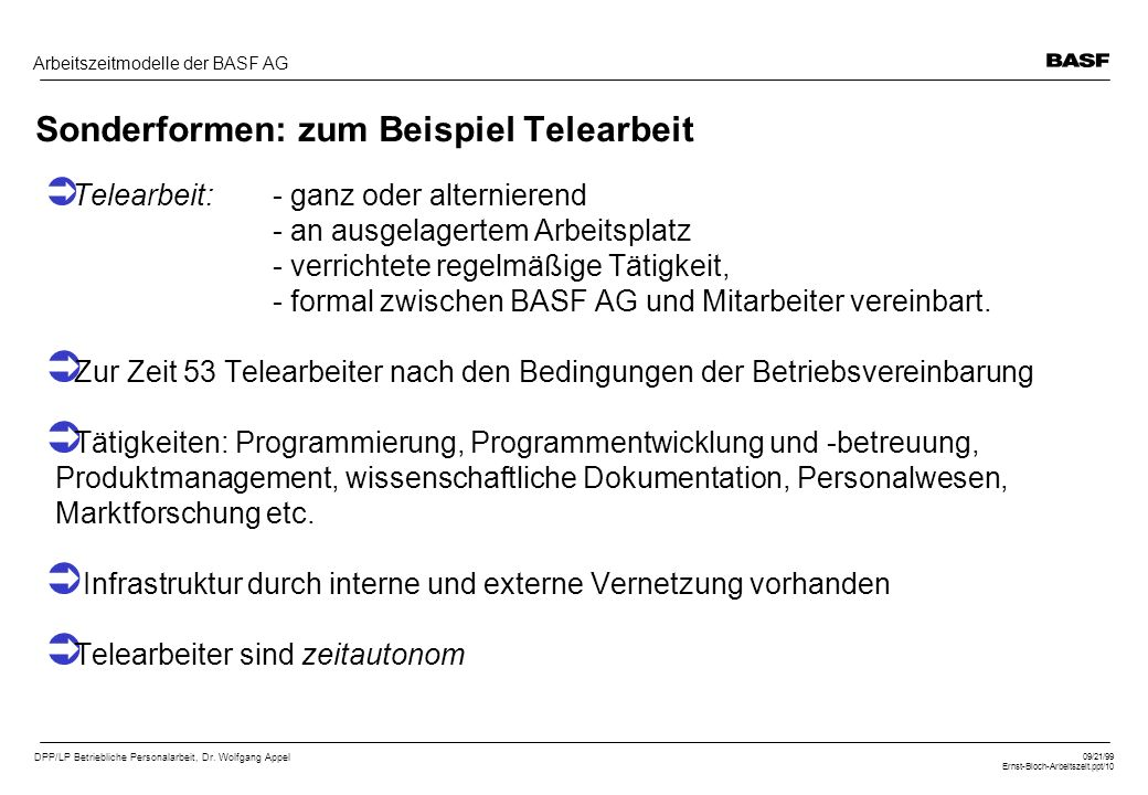 DPP/LP Betriebliche Personalarbeit, Dr. Wolfgang Appel 09/21/99 Ernst-Bloch-Arbeitszeit.ppt/10 Arbeitszeitmodelle der BASF AG Sonderformen: zum Beispi