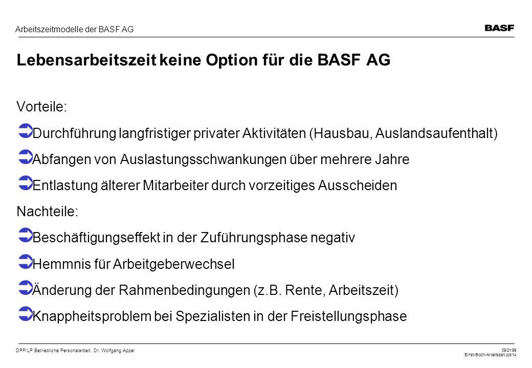 DPP/LP Betriebliche Personalarbeit, Dr. Wolfgang Appel 09/21/99 Ernst-Bloch-Arbeitszeit.ppt/14 Arbeitszeitmodelle der BASF AG Lebensarbeitszeit keine