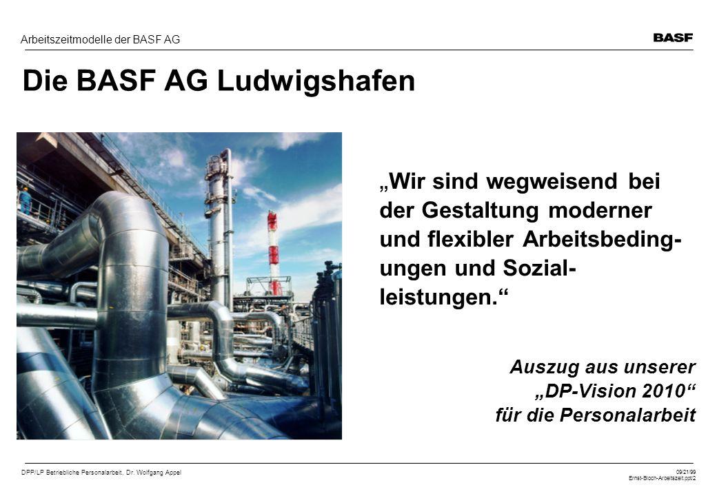 DPP/LP Betriebliche Personalarbeit, Dr. Wolfgang Appel 09/21/99 Ernst-Bloch-Arbeitszeit.ppt/2 Arbeitszeitmodelle der BASF AG Die BASF AG Ludwigshafen
