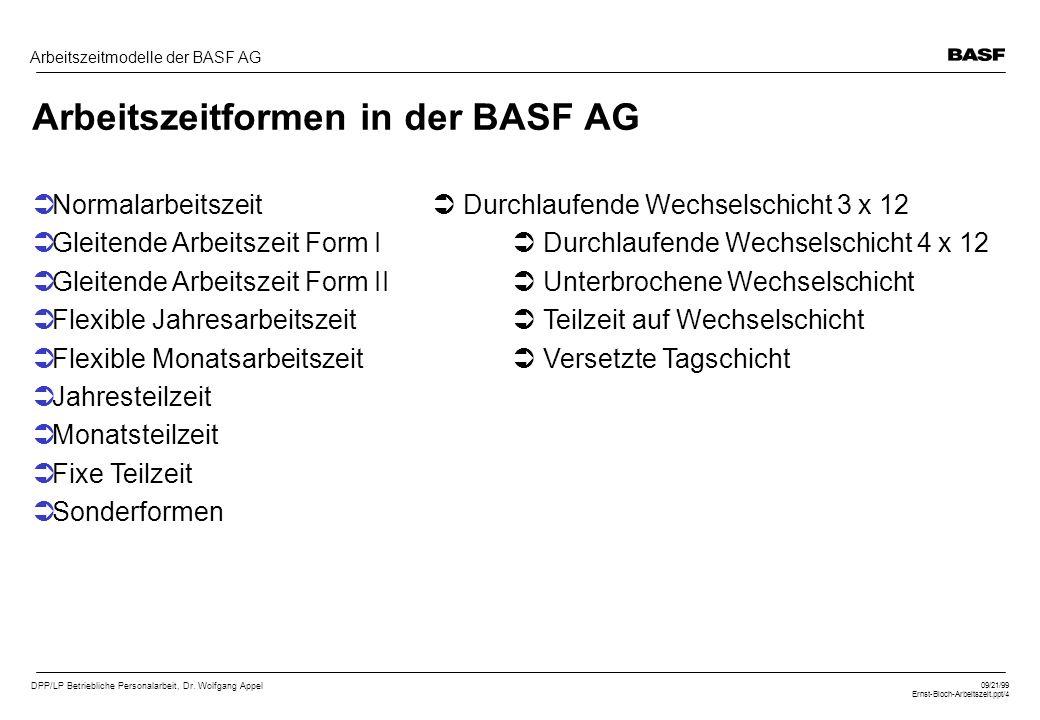 DPP/LP Betriebliche Personalarbeit, Dr. Wolfgang Appel 09/21/99 Ernst-Bloch-Arbeitszeit.ppt/4 Arbeitszeitmodelle der BASF AG Arbeitszeitformen in der