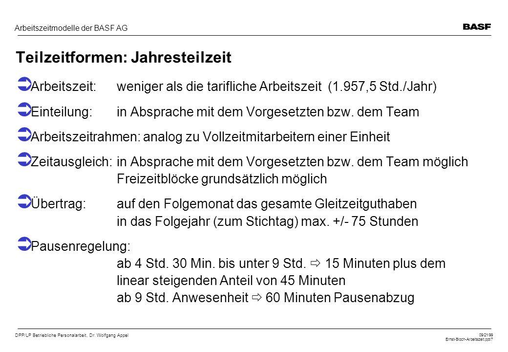DPP/LP Betriebliche Personalarbeit, Dr. Wolfgang Appel 09/21/99 Ernst-Bloch-Arbeitszeit.ppt/7 Arbeitszeitmodelle der BASF AG Teilzeitformen: Jahrestei