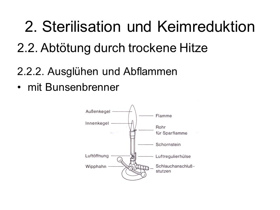 2. Sterilisation und Keimreduktion 2.2.2. Ausglühen und Abflammen mit Bunsenbrenner 2.2. Abtötung durch trockene Hitze