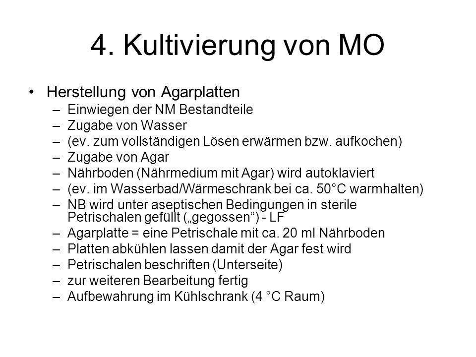 4. Kultivierung von MO Herstellung von Agarplatten –Einwiegen der NM Bestandteile –Zugabe von Wasser –(ev. zum vollständigen Lösen erwärmen bzw. aufko