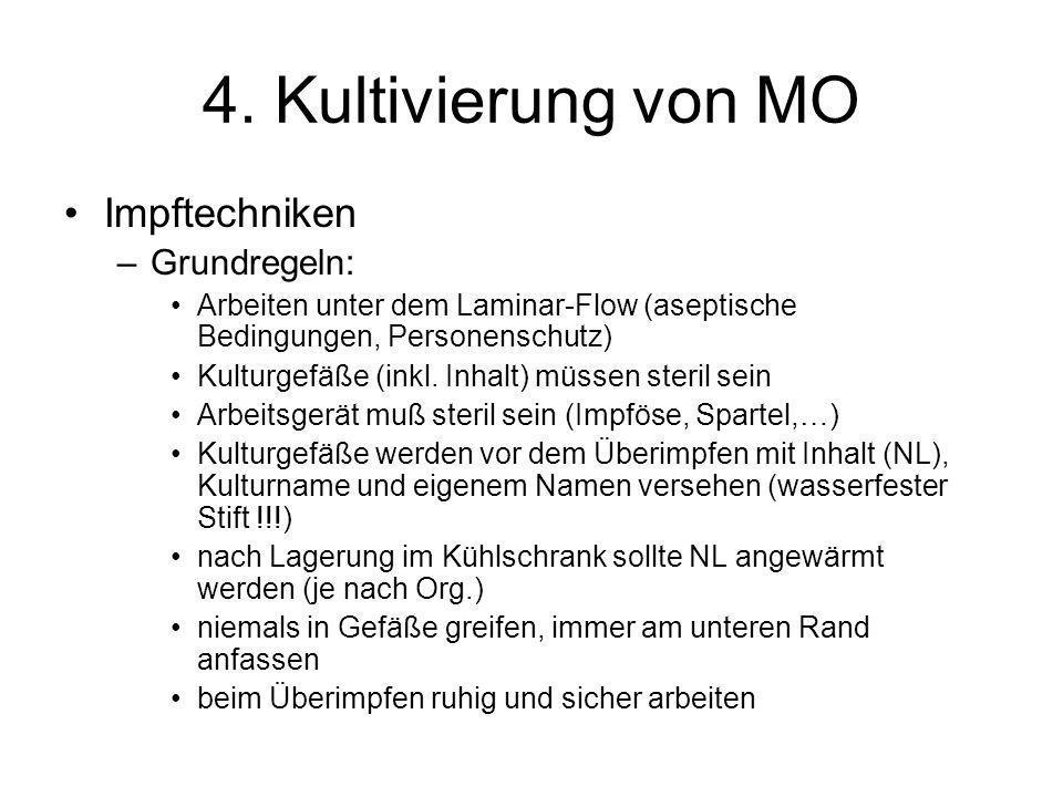 4. Kultivierung von MO Impftechniken –Grundregeln: Arbeiten unter dem Laminar-Flow (aseptische Bedingungen, Personenschutz) Kulturgefäße (inkl. Inhalt