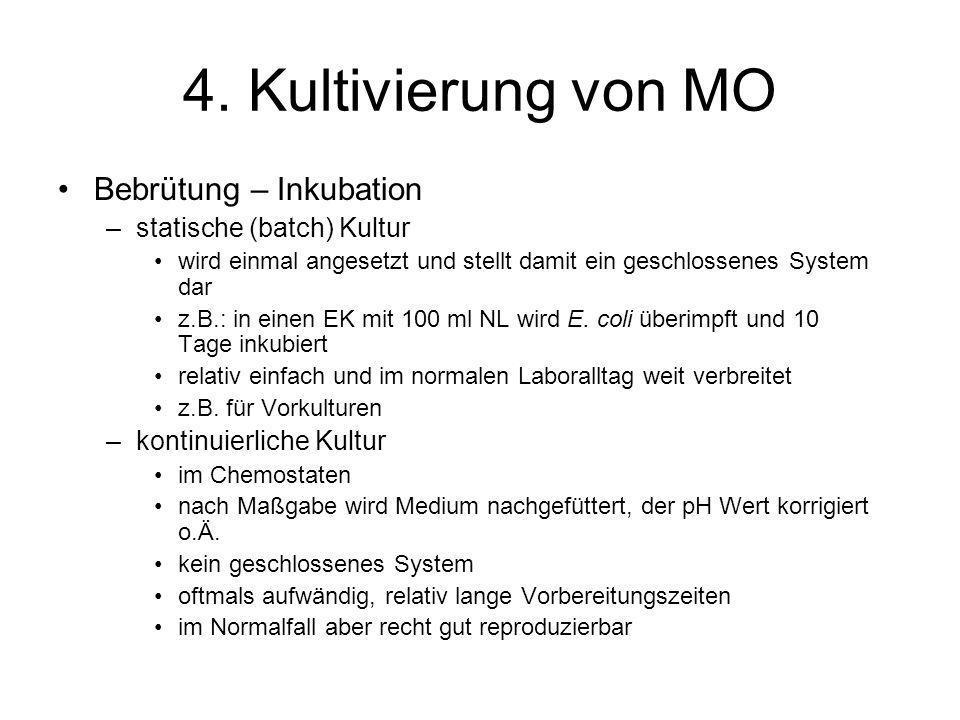 4. Kultivierung von MO Bebrütung – Inkubation –statische (batch) Kultur wird einmal angesetzt und stellt damit ein geschlossenes System dar z.B.: in e