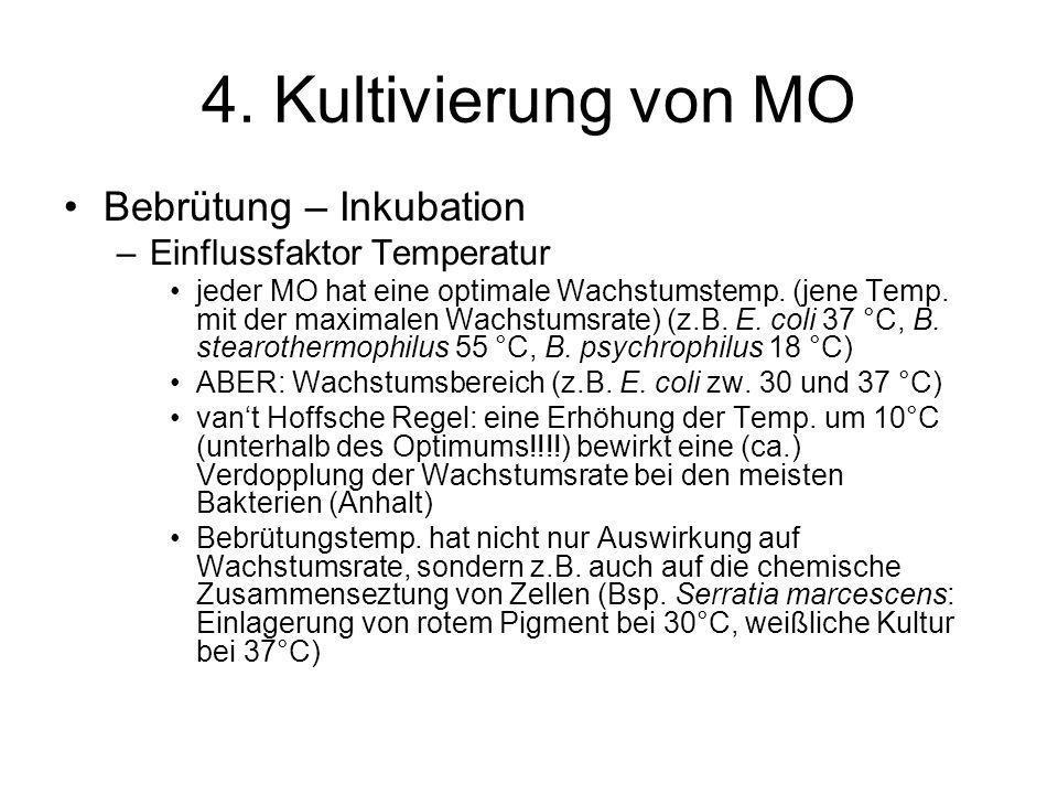 4. Kultivierung von MO Bebrütung – Inkubation –Einflussfaktor Temperatur jeder MO hat eine optimale Wachstumstemp. (jene Temp. mit der maximalen Wachs