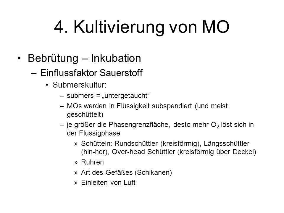4. Kultivierung von MO Bebrütung – Inkubation –Einflussfaktor Sauerstoff Submerskultur: –submers = untergetaucht –MOs werden in Flüssigkeit subspendie
