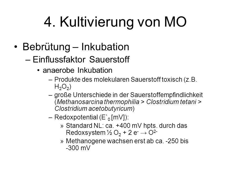 4. Kultivierung von MO Bebrütung – Inkubation –Einflussfaktor Sauerstoff anaerobe Inkubation –Produkte des molekularen Sauerstoff toxisch (z.B. H 2 O