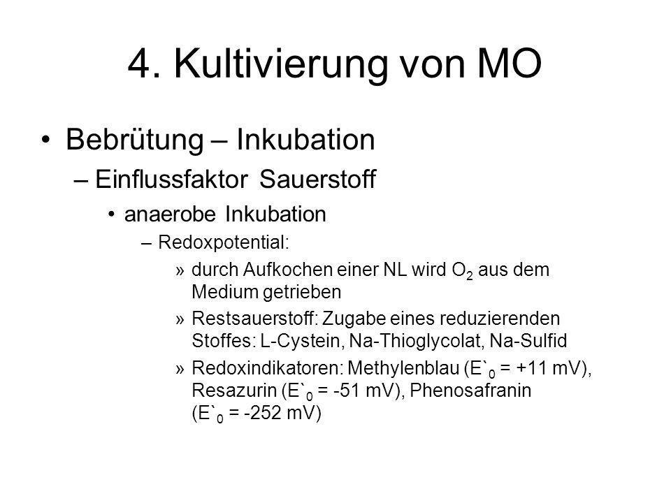 4. Kultivierung von MO Bebrütung – Inkubation –Einflussfaktor Sauerstoff anaerobe Inkubation –Redoxpotential: »durch Aufkochen einer NL wird O 2 aus d