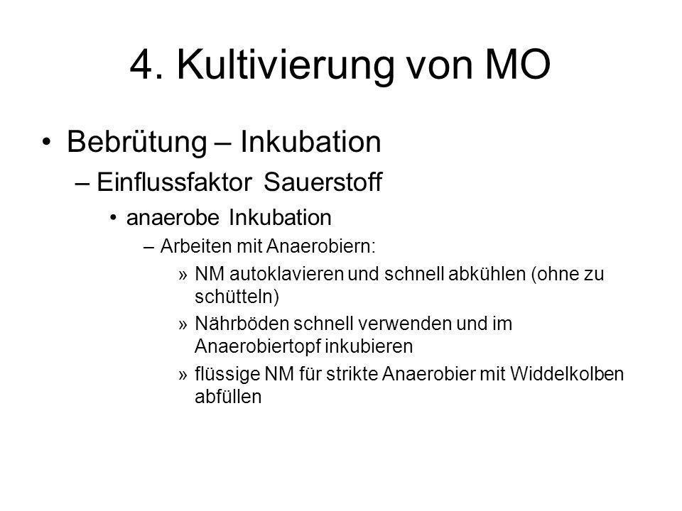 4. Kultivierung von MO Bebrütung – Inkubation –Einflussfaktor Sauerstoff anaerobe Inkubation –Arbeiten mit Anaerobiern: »NM autoklavieren und schnell
