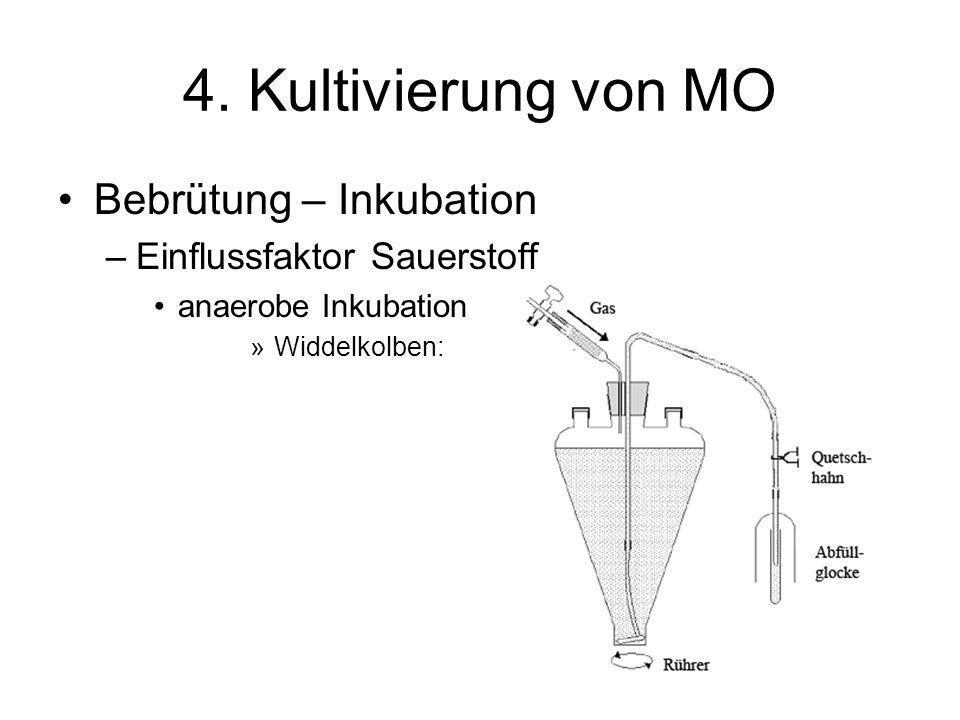 4. Kultivierung von MO Bebrütung – Inkubation –Einflussfaktor Sauerstoff anaerobe Inkubation »Widdelkolben: