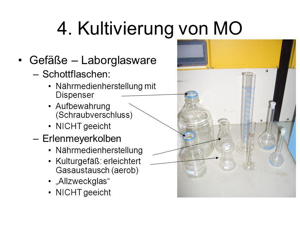 4. Kultivierung von MO Gefäße – Laborglasware –Schottflaschen: Nährmedienherstellung mit Dispenser Aufbewahrung (Schraubverschluss) NICHT geeicht –Erl