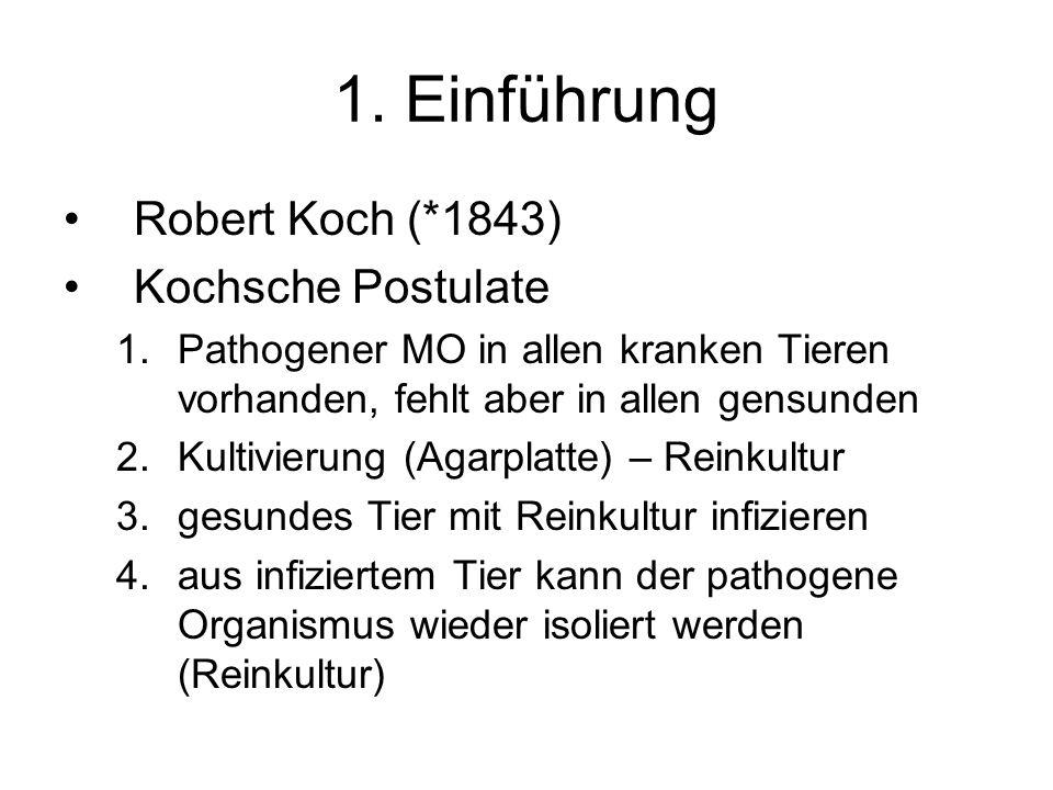 1. Einführung Robert Koch (*1843) Kochsche Postulate 1.Pathogener MO in allen kranken Tieren vorhanden, fehlt aber in allen gensunden 2.Kultivierung (