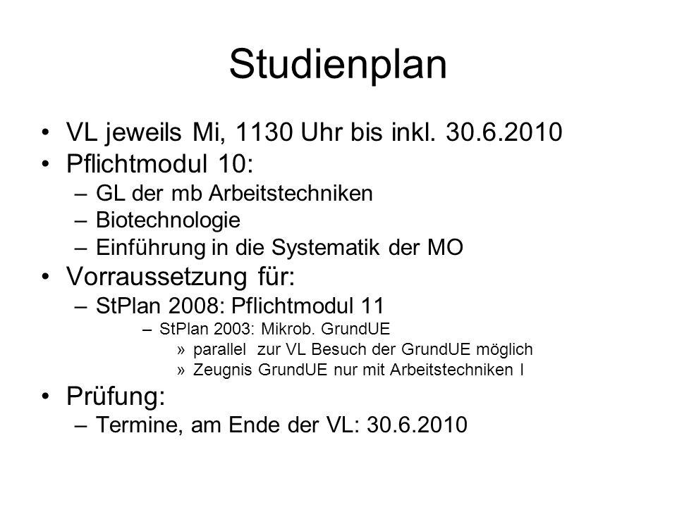 Studienplan VL jeweils Mi, 1130 Uhr bis inkl. 30.6.2010 Pflichtmodul 10: –GL der mb Arbeitstechniken –Biotechnologie –Einführung in die Systematik der