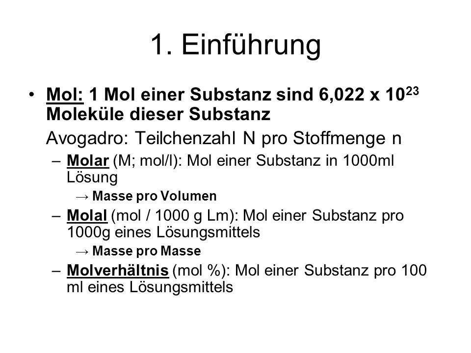 Mol: 1 Mol einer Substanz sind 6,022 x 10 23 Moleküle dieser Substanz Avogadro: Teilchenzahl N pro Stoffmenge n –Molar (M; mol/l): Mol einer Substanz in 1000ml Lösung Masse pro Volumen –Molal (mol / 1000 g Lm): Mol einer Substanz pro 1000g eines Lösungsmittels Masse pro Masse –Molverhältnis (mol %): Mol einer Substanz pro 100 ml eines Lösungsmittels