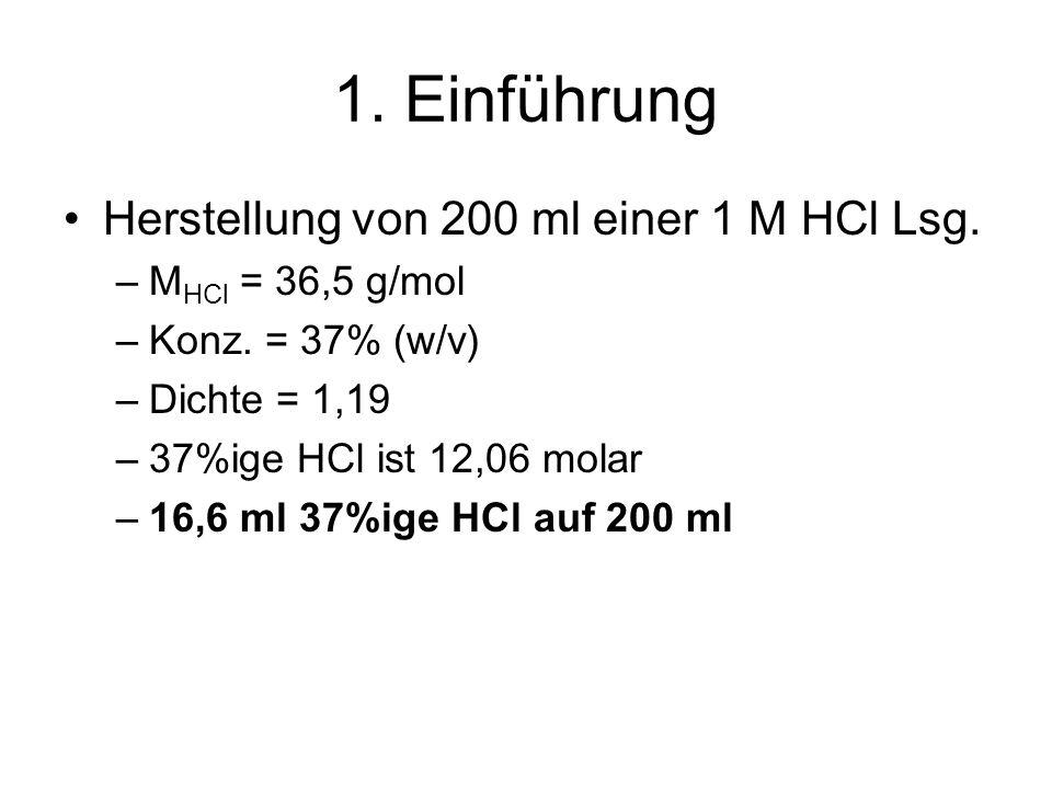 1. Einführung Herstellung von 200 ml einer 1 M HCl Lsg. –M HCl = 36,5 g/mol –Konz. = 37% (w/v) –Dichte = 1,19 –37%ige HCl ist 12,06 molar –16,6 ml 37%