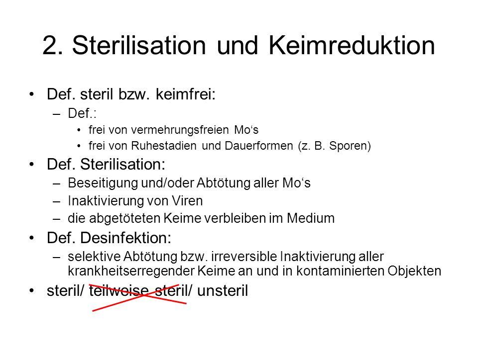 2. Sterilisation und Keimreduktion Def. steril bzw. keimfrei: –Def.: frei von vermehrungsfreien Mos frei von Ruhestadien und Dauerformen (z. B. Sporen