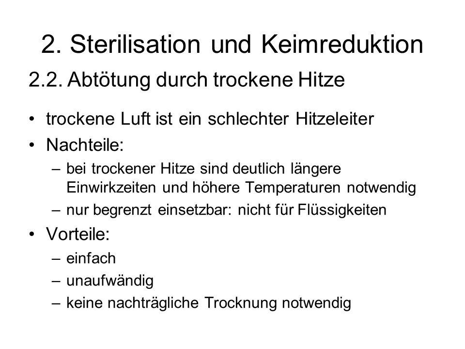 2. Sterilisation und Keimreduktion trockene Luft ist ein schlechter Hitzeleiter Nachteile: –bei trockener Hitze sind deutlich längere Einwirkzeiten un