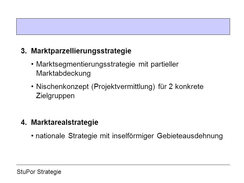 3. Marktparzellierungsstrategie Marktsegmentierungsstrategie mit partieller Marktabdeckung Nischenkonzept (Projektvermittlung) für 2 konkrete Zielgrup