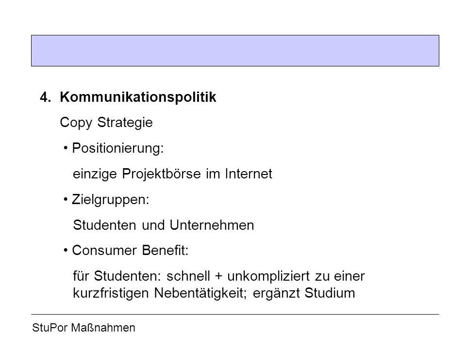 4.Kommunikationspolitik Copy Strategie Positionierung: einzige Projektbörse im Internet Zielgruppen: Studenten und Unternehmen Consumer Benefit: für S