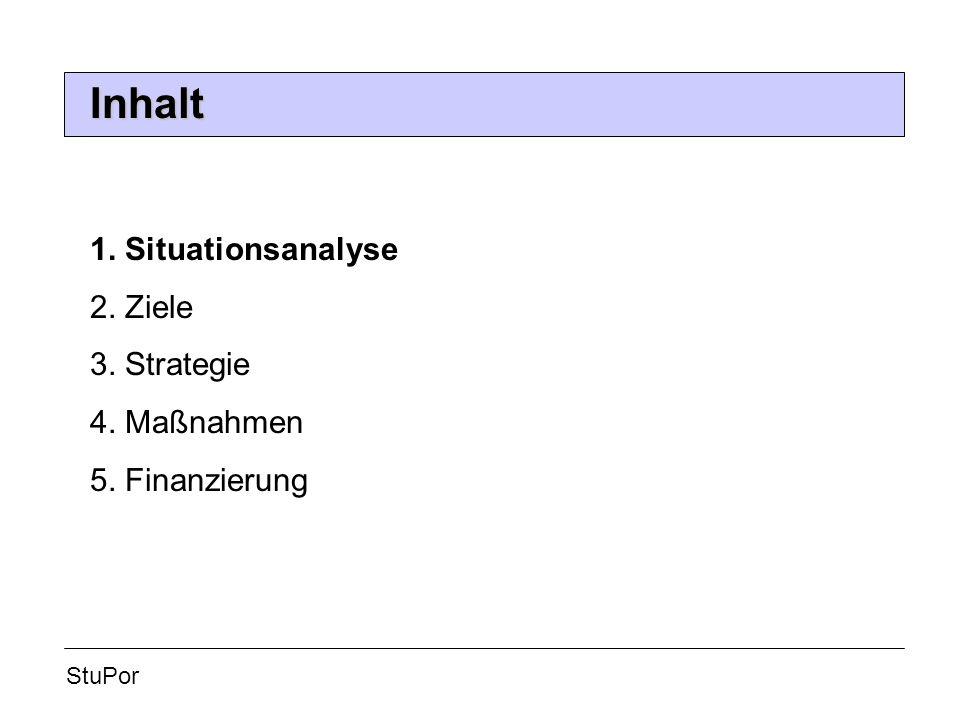 Inhalt StuPor 1. Situationsanalyse 2. Ziele 3. Strategie 4. Maßnahmen 5. Finanzierung