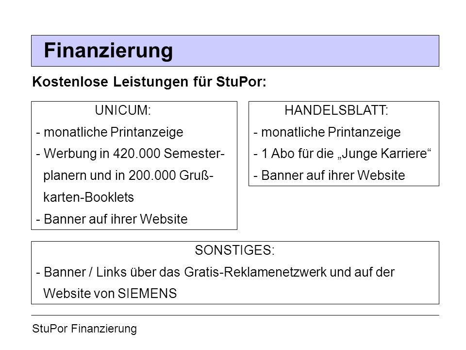 StuPor Finanzierung Finanzierung Kostenlose Leistungen für StuPor: UNICUM: - monatliche Printanzeige - Werbung in 420.000 Semester- planern und in 200