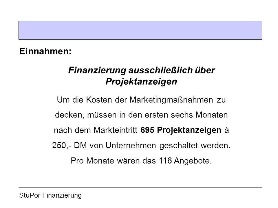 StuPor Finanzierung Einnahmen: Um die Kosten der Marketingmaßnahmen zu decken, müssen in den ersten sechs Monaten nach dem Markteintritt 695 Projektanzeigen à 250,- DM von Unternehmen geschaltet werden.