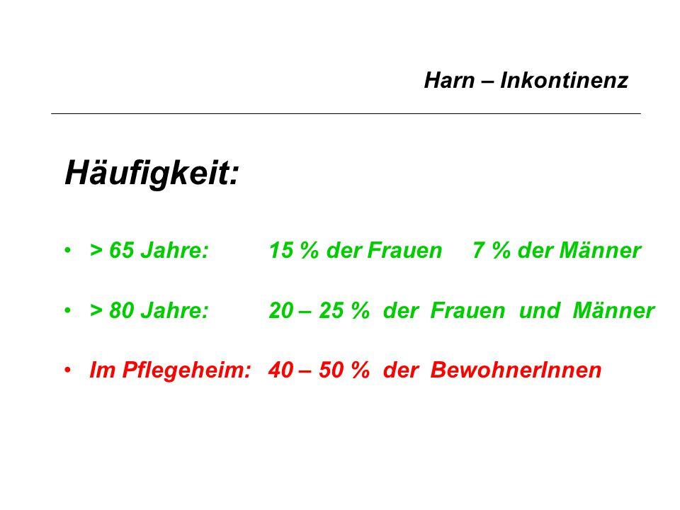 Harn – Inkontinenz > 65 Jahre:15 % der Frauen7 % der Männer > 80 Jahre:20 – 25 % der Frauen und Männer Im Pflegeheim:40 – 50 % der BewohnerInnen Häufi