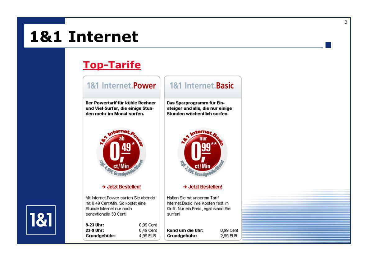 1&1 Internet 5 5 E-Mail-Adressen (beim BASIC-Tarif 3 E-Mail-Adressen) Outlook WebAcess 1&1 ProfiDialer zur automatischen Einwahl Starter-CD mit vielen wichtigen Programmen 25 MB Speicherplatz für die eigene Homepage Top-Features Zusatzleistungen Power-Tarif: