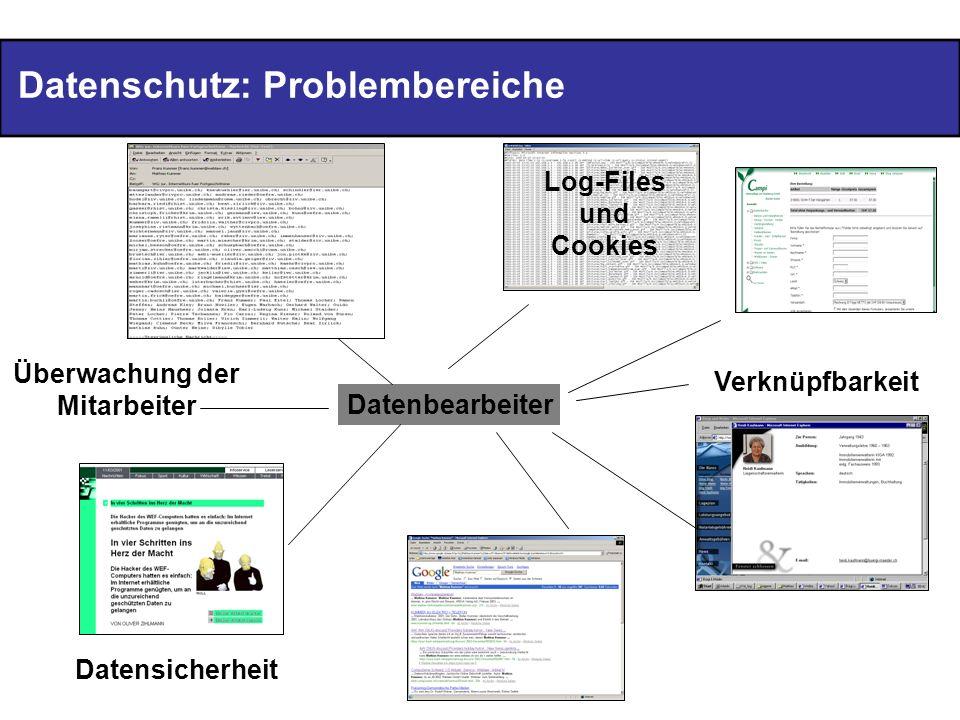 Datenschutz: Problembereiche Datenbearbeiter Überwachung der Mitarbeiter Log-Files und Cookies Verknüpfbarkeit Datensicherheit