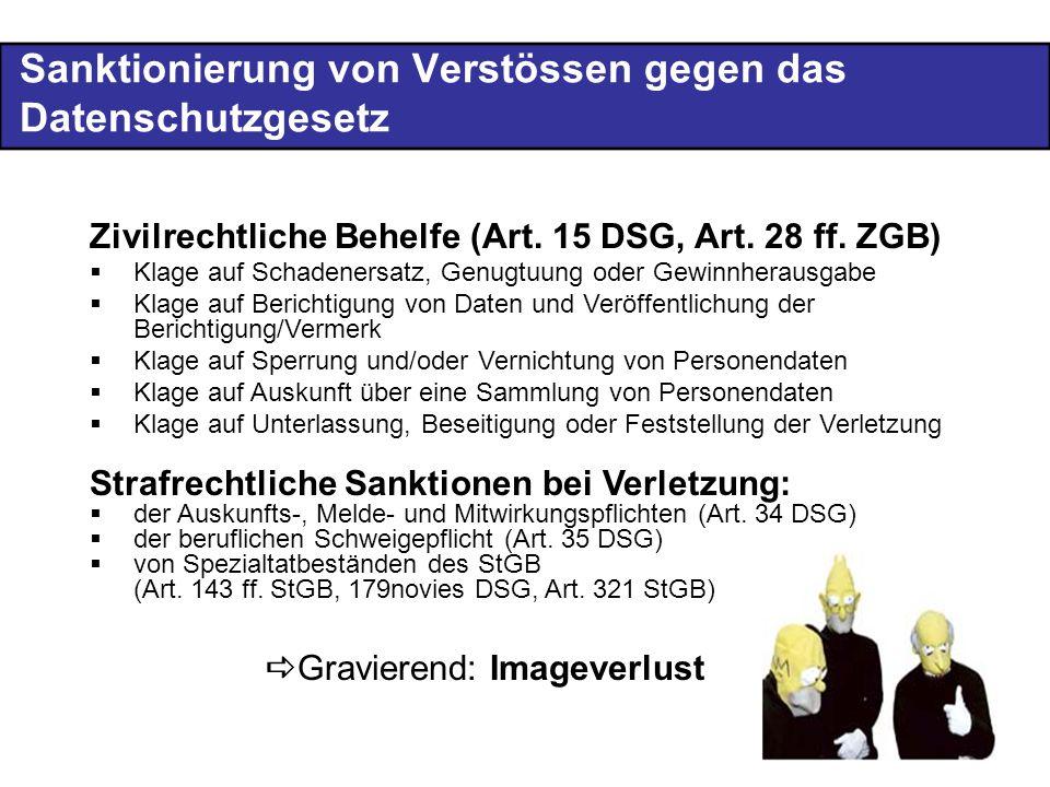 Sanktionierung von Verstössen gegen das Datenschutzgesetz Zivilrechtliche Behelfe (Art.