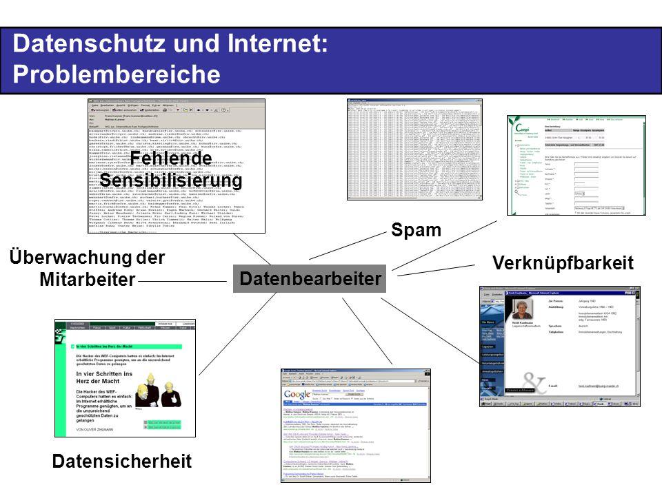 Datenschutz und Internet: Problembereiche Datenbearbeiter Überwachung der Mitarbeiter Verknüpfbarkeit Datensicherheit Fehlende Sensibilisierung Spam
