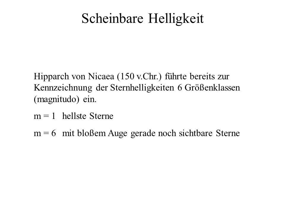 Scheinbare Helligkeit Hipparch von Nicaea (150 v.Chr.) führte bereits zur Kennzeichnung der Sternhelligkeiten 6 Größenklassen (magnitudo) ein. m = 1he