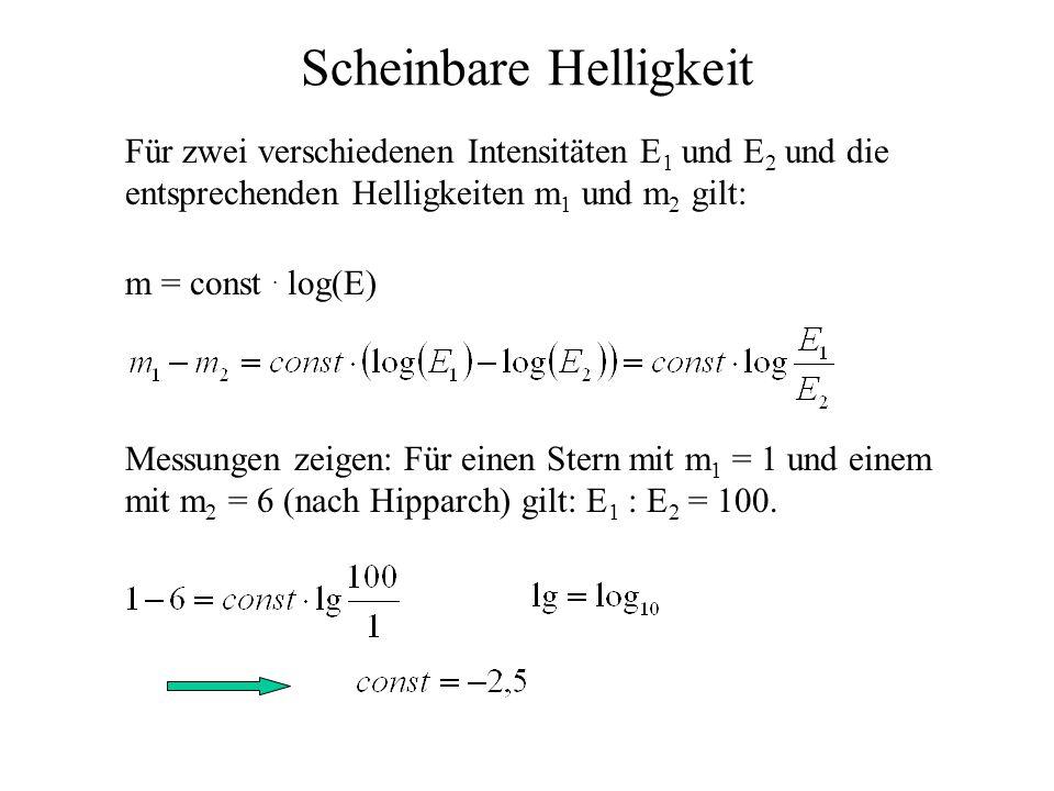 Scheinbare Helligkeit Für zwei verschiedenen Intensitäten E 1 und E 2 und die entsprechenden Helligkeiten m 1 und m 2 gilt: m = const. log(E) Messunge