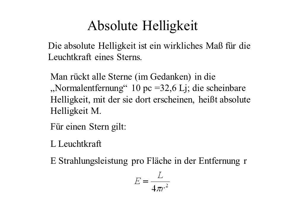 Absolute Helligkeit Die absolute Helligkeit ist ein wirkliches Maß für die Leuchtkraft eines Sterns. Man rückt alle Sterne (im Gedanken) in die Normal