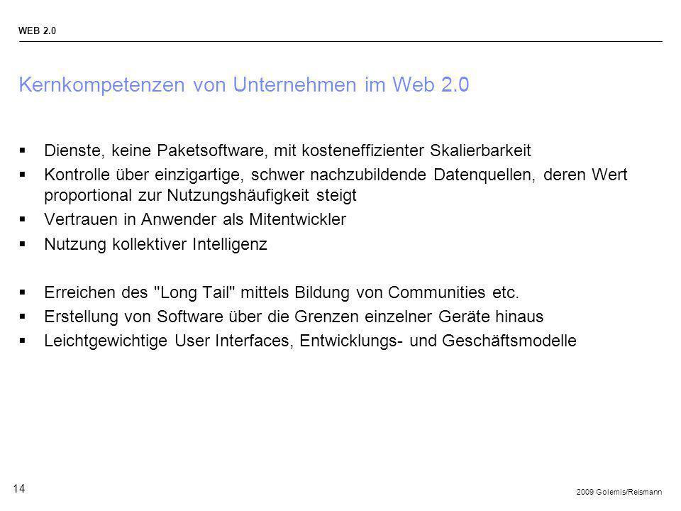 2009 Golemis/Reismann WEB 2.0 14 Kernkompetenzen von Unternehmen im Web 2.0 Dienste, keine Paketsoftware, mit kosteneffizienter Skalierbarkeit Kontrol