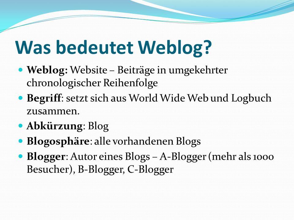 Entstehung von Weblog Entstehung: 1990, erstes Weblog des US- amerikanischen Erfinders des World Wide Web Tim BERNERS-LEE.