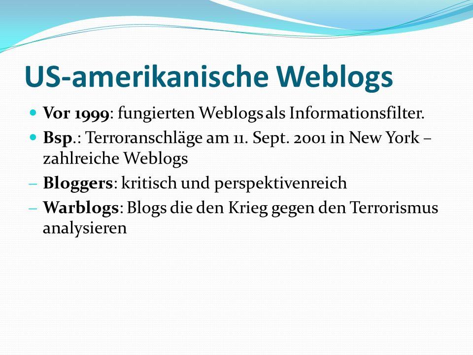 US-amerikanische Weblogs Vor 1999: fungierten Weblogs als Informationsfilter.