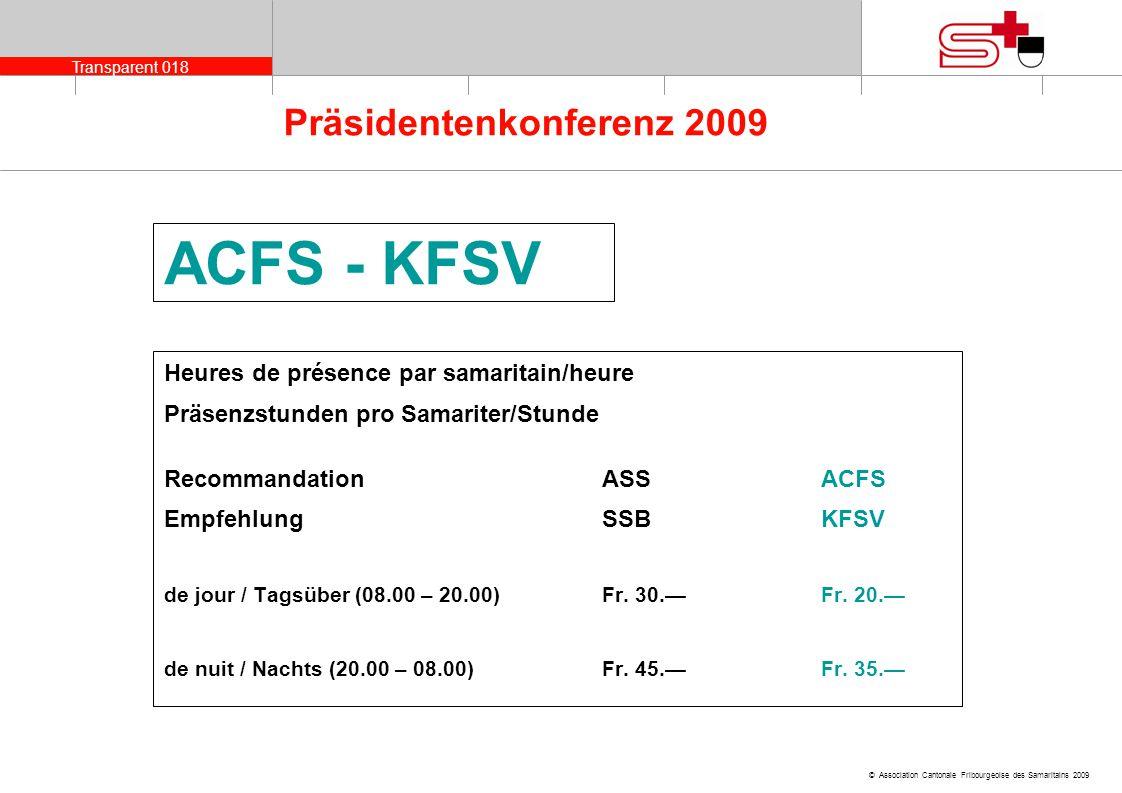 Transparent 018 © Association Cantonale Fribourgeoise des Samaritains 2009 Präsidentenkonferenz 2009 ACFS - KFSV Heures de présence par samaritain/heu