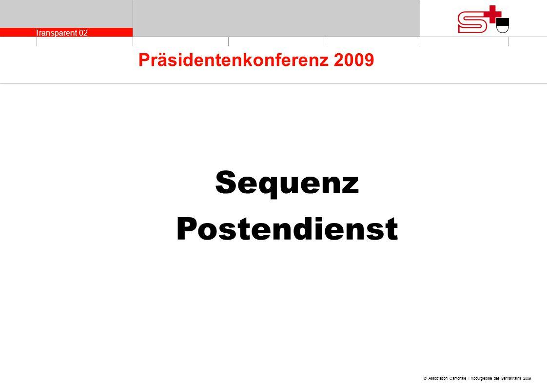 Transparent 02 © Association Cantonale Fribourgeoise des Samaritains 2009 Präsidentenkonferenz 2009 Sequenz Postendienst