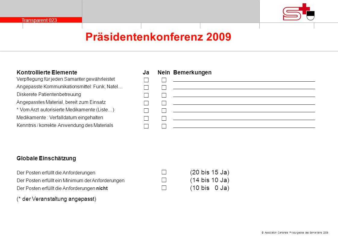 Transparent 023 © Association Cantonale Fribourgeoise des Samaritains 2009 Präsidentenkonferenz 2009 Kontrollierte ElementeJaNeinBemerkungen Verpflegu