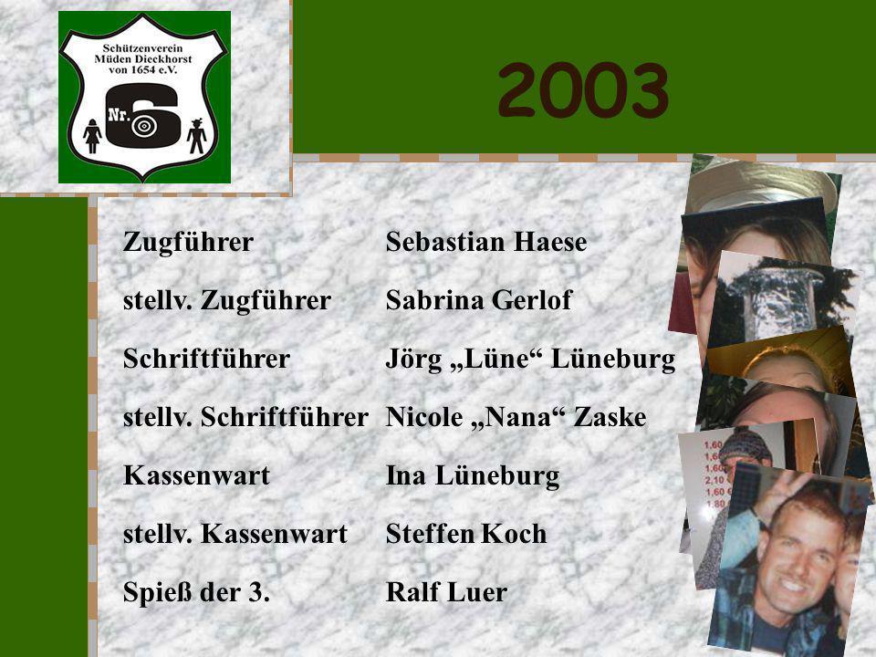 2002 Zugführer Sebastian Haese stellv. Zugführer Sabrina Gerlof Schriftführer Tanja Tanne Schacht stellv. Schriftführer Nicole Nana Zaske Kassenwart S