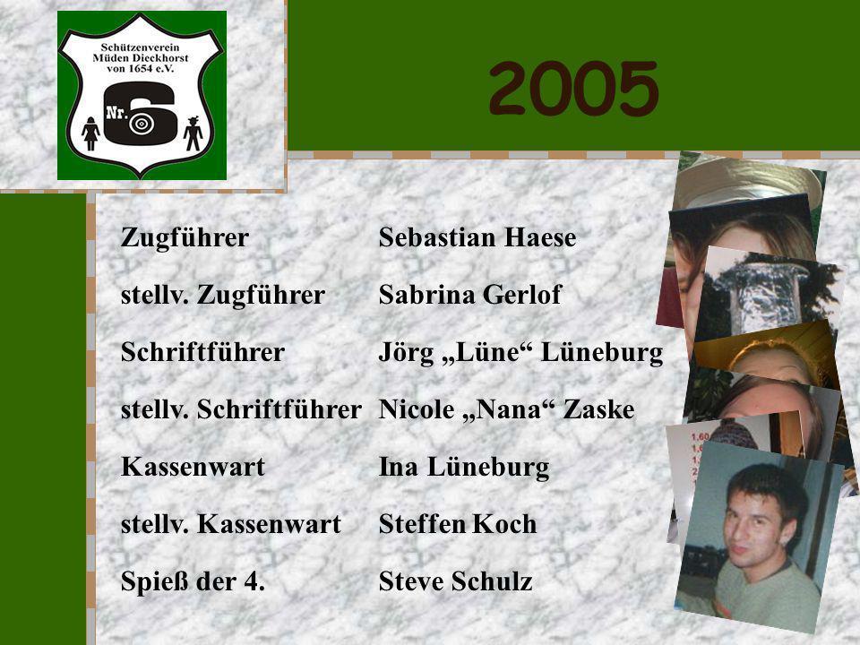 2004 Zugführer Sebastian Haese stellv. Zugführer Sabrina Gerlof Schriftführer Jörg Lüne Lüneburg stellv. Schriftführer Nicole Nana Zaske Kassenwart In